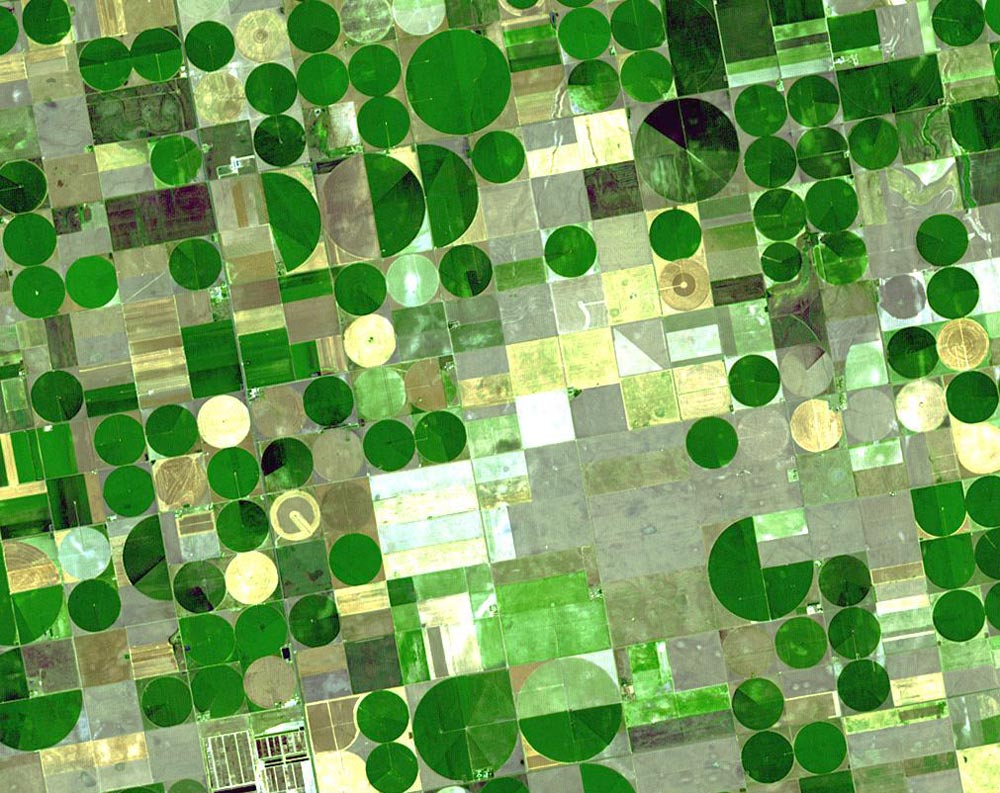 NASA satellite photo shows crop circles in Finney County, Kansas